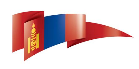 Mongolia national flag, vector illustration on a white background