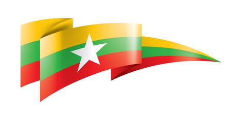 Myanmar national flag, vector illustration on a white background