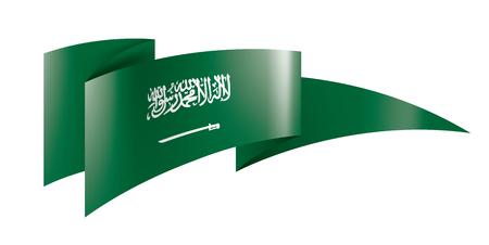 Bandiera nazionale dell'Arabia Saudita, illustrazione vettoriale su sfondo bianco