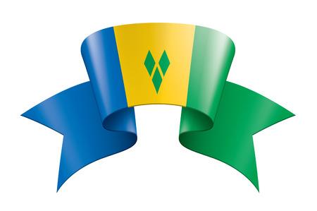 Drapeau national de Saint-Vincent-et-les Grenadines, illustration vectorielle sur fond blanc