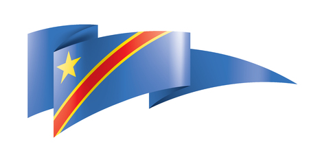 Democratic Republic of the Congo national flag, vector illustration on a white background