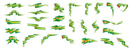 Sao Tome and Principe flag, vector illustration on a white background Ilustração Vetorial