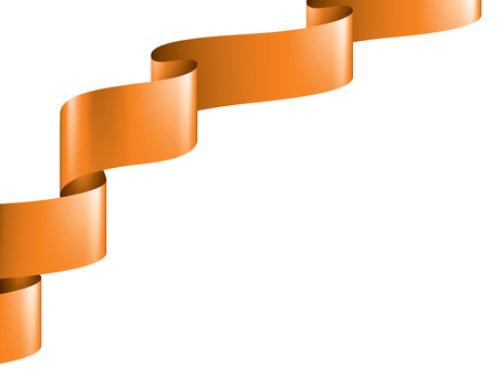 orange ribbon on white background. Vector illustration.