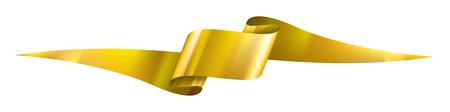 golden ribbon on white background. Vector illustration