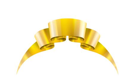 golden ribbon on white background. Vector illustration.