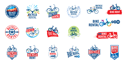 Logo for Bicycle rental. Vector illustration on white background Logos