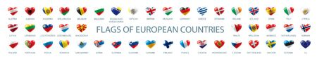 Collection of vector flags of Europe in the form of hearts