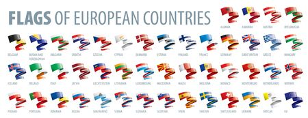 Set of flags of Europe. Vector illustration Vettoriali