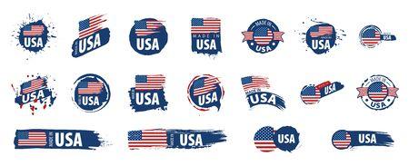 USA flag, vector illustration on a white background. Ilustrace
