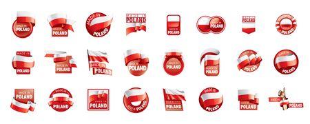 Drapeau de la Pologne, illustration vectorielle sur fond blanc Vecteurs