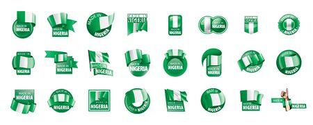 Nigeria flag, vector illustration on a white background.