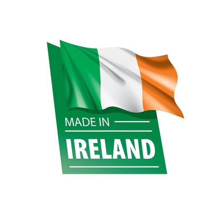 Ireland flag, vector illustration on a white background,