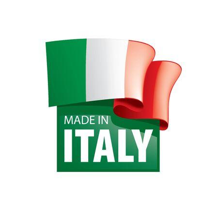 Bandiera dell'Italia, illustrazione vettoriale su sfondo bianco. Vettoriali