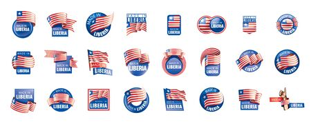 Liberia Flagge, Vektorillustration auf einem weißen Hintergrund. Vektorgrafik