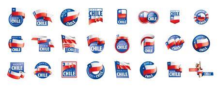 Chile flag, vector illustration on a white background. Векторная Иллюстрация
