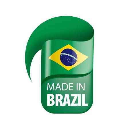 Brazil national flag, vector illustration on a white background
