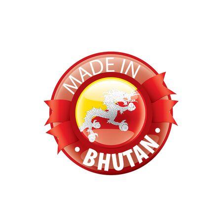 Bhutan national flag, vector illustration on a white background