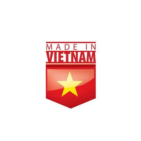 Bandera nacional de Vietnam, ilustración vectorial sobre un fondo blanco.
