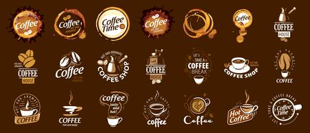 Set of coffee . Vector illustration on brown background Vettoriali