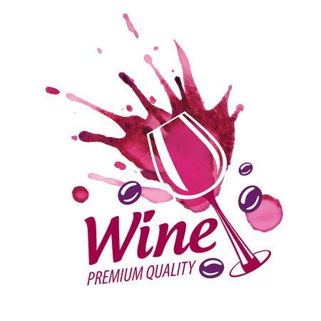 Vector logo of red wine splashed on white background Ilustração