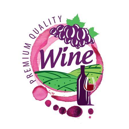 Vector of red wine splashed on white background Illustration