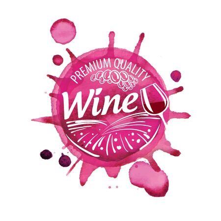 Vector of red wine splashed on white background Ilustração
