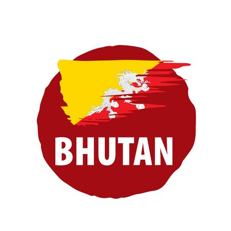 Bhutan national flag, vector illustration on a white background