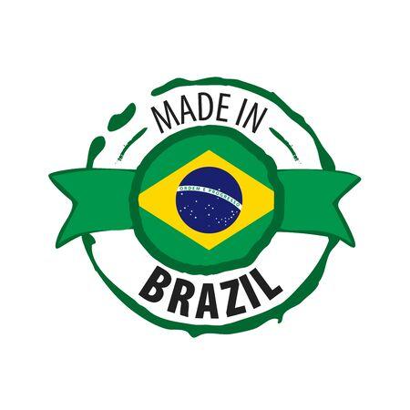 Brazil flag, vector illustration on a white background Фото со стока - 131258526