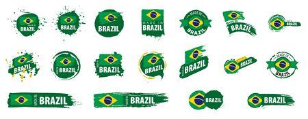 Brazil flag, vector illustration on a white background Фото со стока - 131259026