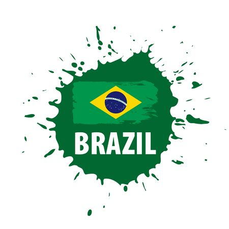 Brazil flag, vector illustration on a white background Фото со стока - 131258242