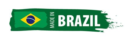 Brazil flag, vector illustration on a white background Фото со стока - 131258555