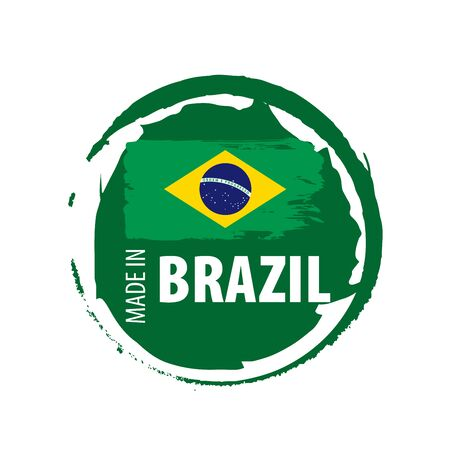 Brazil national flag, vector illustration on a white background Фото со стока - 131255597