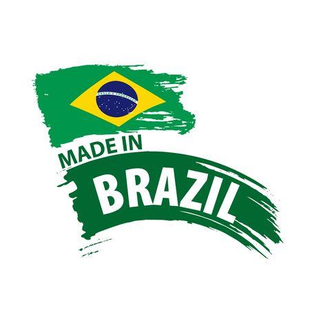 Brazil flag, vector illustration on a white background Фото со стока - 131258922
