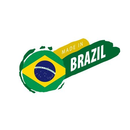 Brazil national flag, vector illustration on a white background Фото со стока - 131255818