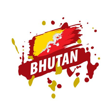 Bhutan flag, vector illustration on a white background