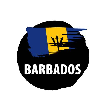 Barbados flag, vector illustration on a white background.