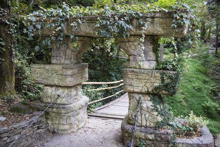 Gate to the bridge in the arboretum in Sochi, Russia.