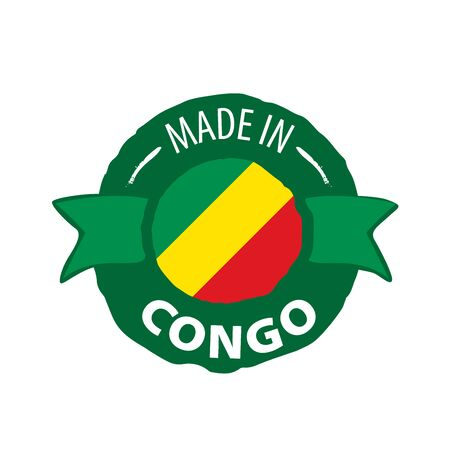 Congo flag, vector illustration on a white background