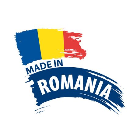 Romania flag, vector illustration on a white background Stock Illustratie