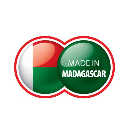 Madagascar flag, vector illustration on a white background