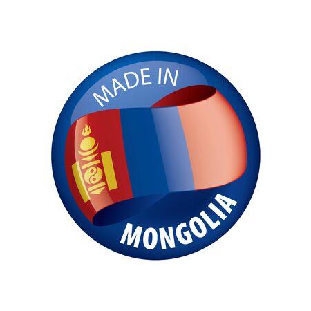Mongolia flag, vector illustration on a white background Illusztráció