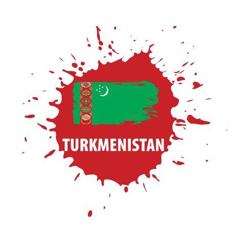 Turkmenistan national flag, vector illustration on a white background Illustration
