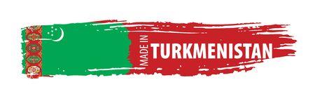 Drapeau du Turkménistan, illustration vectorielle sur fond blanc Vecteurs
