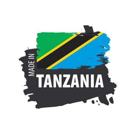 Tansania-Flagge, Vektorillustration auf einem weißen Hintergrund Vektorgrafik