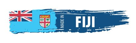 Fiji flag, vector illustration on a white background Stock Illustratie