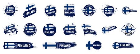 Vector set of flags of Finland on a white background.