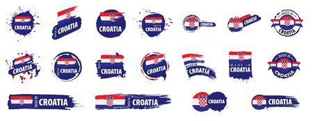 Vector set of flags of Croatia on a white background.