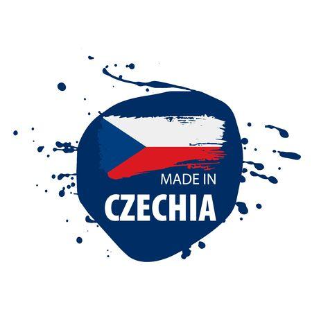 Czechia national flag, vector illustration on a white background Stock Illustratie