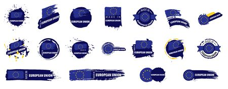 Vector set of flags of European union on a white background