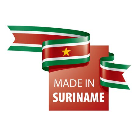 Suriname flag, vector illustration on a white background  イラスト・ベクター素材